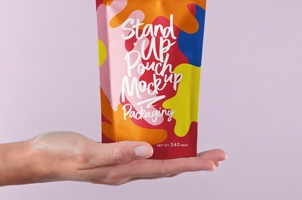 Holding Hand Psd Pouch Packaging Mockup