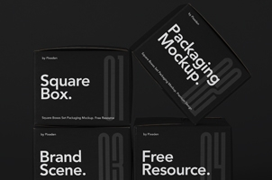 Packaging Psd Square Boxes Mockup Set