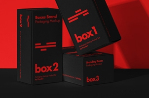 Product Packaging Psd Boxes Mockup Set